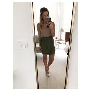 Olive green skirt with belt